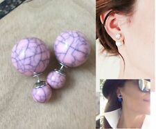 Baublebar Urban Double Sided Soft Peach Pink Ball Peekaboo 360 Silver Earrings