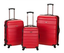 HARDSIDE LUGGAGE SET RED 3 PCE SPINNER SUITCASE EXPANDABLE CARRY ON LIGHTWEIGHT