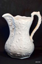 Antique Parian Bisque Porcelain Ware Reproduction  Pitcher of a Bower of Flowers