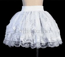 White Floral Lace Lolita Mini Skirt Size M Ruffles Tiered   GL A2488_white