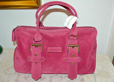 NWT $945 LONGCHAMP Kate Moss Glouchester Suede Leather Satchel Handbag PINK