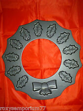 Wilton Holly Leaf Wreath & Bow 12 Cavity Novelty Cake Cookie Biscuit Mould Tin