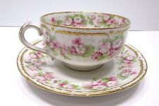 ANTIQUE HAVILAND LIMOGES FRANCE TEA CUP SAUCER FLOWERS HEARTS DOUBLE GOLD 1800's
