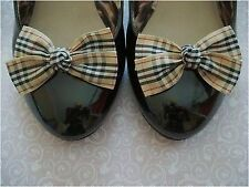 BEIGE TARTAN RIBBON PLAID NOVA CHECK SHOE BOW CLIPS DESIGNER STYLE HANDMADE