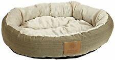 Dog Round Bed Pet Pillow Brown Kennel Pad Soft Cushion Sleeping Puppy House