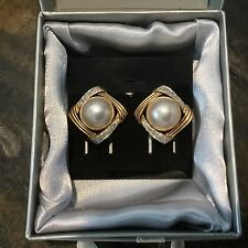 Beautiful Vintage DIAMOND MABE PEARL And 14K Gold Earrings