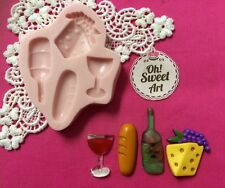 Wine and Cheese silicone mold fondant cake decorating cupcake food soap FDA