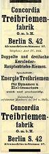 Concordia Treibriemen-Fabrik Berlin ENERGIE TREIBRIEMEN Historische Reklame 1908