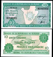 BURUNDI 10 FRANCS 1997 P 33 UNC