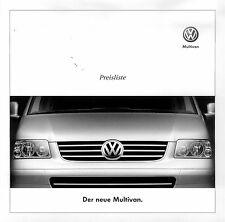 VW Multivan Preisliste 4 03 car price list 2003 Auto PKWs Volkswagen Deutschland