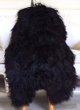 Genuine Natural Icelandic Sheepskin Rug, Pelt, Fur XL Large Black