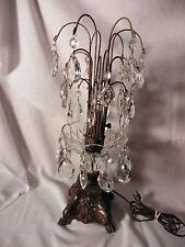 ANTIQUE/VTG OLD CRYSTAL CUT GLASS PRISM WATERFALL TABLE LAMP