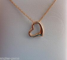 "New Petite Italian Heart Pendant Necklace- 14K Pink Rose Gold- 18"" Chain"