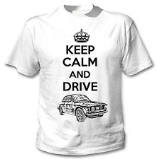 ALFA GT JUNIOR 1969 KEEP CALM AND - NEW WHITE COTTON TSHIRT ALL SIZES IN STOCK