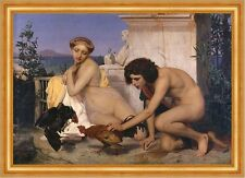 Young Greeks Attending a Cock Fight Jean-Leon Gerome Spiele Hahn B A3 02536