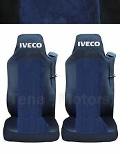 2 x IVECO STRALIS Seat Covers Tailored Logo Truck Lorry Black / Blue DE LUX RHD