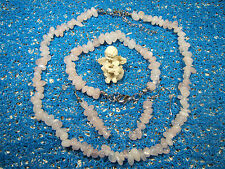 Collier QUARTZ ROSE EXTRA baroque+bracelet +boucles Perles 8-10 mm