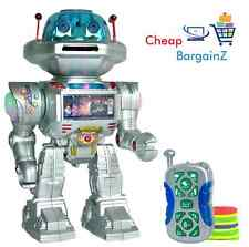 RC RADIOCOMANDATO SPACE ROBOT SPARA frisbees, passeggiate, diapositiva, danze LUCI UK