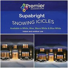 Premier 360 LED Supabright Christmas Xmas Tree Lights Warm WHITE Snowing Icicles