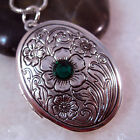 Emerald Crystal Flower Oval Oxidized Silver Picture Locket Pendant Necklace