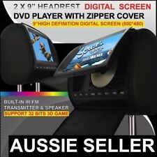 """2 x 9"""" inch HD Headrest Car DVD Player Rear Monitor with Pillow 2 DVD For Audi"""