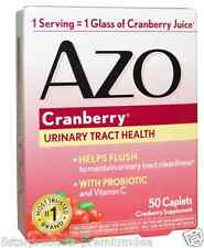 NEW AZO CRENBERRY URINARY TRACT HEALTH PROBIOTIC VITAMIN C HELP FLUSH 50 CAPLETS