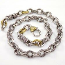 """Judith Ripka JR TWO Sterling Silver 18K Yellow Gold Diamond Cable Necklace 16"""""""