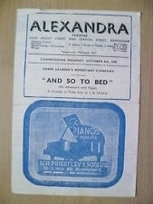 Alexandra Theatre Programme 1945- AND SO TO BED by J B Priestley