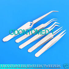 5PCS STAINLESS JEWELERS TWEEZERS, Watch MAKING BEADING WIRE WRAPPING TWEEZERS