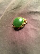 4)new-old-stock 14k yellow gold/JADEITE necklace security clasp 3 strand SCRAP