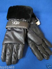 NWT UGG® Australia_ Emilion Brown Leather Smart  Glove with Shearling Cuff (M)