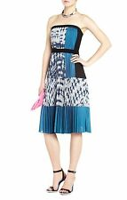 BCBG MAX AZRIA Georgette Strapless Pleated Dress,blue Multi-Color, S, $298 New