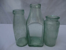 3x VINTAGE ANTIQUE OLD GLASS PRESERVE JARS  WEDDING DECORATION FAVOUR c1900-1915