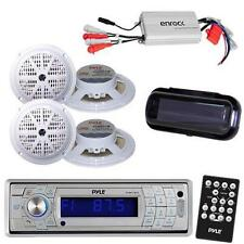 Marine AM/FM Silver Radio Stereo System & Bluetooth & Cover +800W Amp 4 Speakers