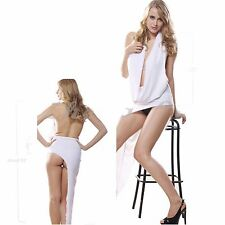 Sexy Snow White Halter Plunge Front Evening Cocktail Dress with Thong (Free)2413