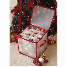 New Christmas Xmas Decorations 64 BAUBLES ORNAMENTS TREE LIGHTS  STORAGE BOX