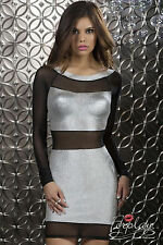 SEXY MINI ABITO VESTITO SERA ARGENTO PARTY BODY CON STERLING DRESS FORPLAY  M