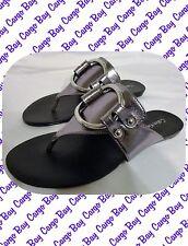 Metallic Silver Calvin Klein Thong Style Flat Sandals Size 6 Medium ~ Sheilah