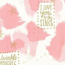 Pink gold glitter star fabric - Michael Miller Magic - You Are Magic