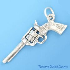 SIX SHOOTER HANDGUN REVOLVER GUN MOVABLE 3D .925 Sterling Silver Charm