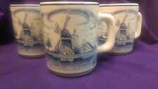 3 Vintage Blue White Delft Mugs Hand Painted Windmill Sailboat