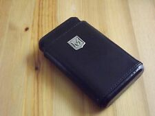 Monogram Personalized Black Leather 4 Finger Cigar Case Cedar Lining Initial M