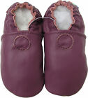 carozoo soft sole leather baby shoes solid purple 18-24m