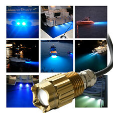 "Blue 3 led 1/2"" NPT Underwater Boat Drain Plug Light with connector for fishing"