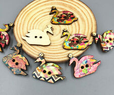 20pcs Swan Wooden buttons Sewing Scrapbooking Embellishments Crafts 2-Holes 30mm