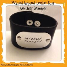 Handmade Harry Potter Inspired Mischief Managed Hand Stamped Leather Cuff Geeky