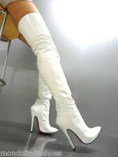 MORI ITALY HIGH HEEL OVERKNEE BOOTS STIEFEL STIVALI ZIP LEATHER WHITE BIANCO 37