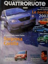 Quattroruote 555 2002 Al volante della nuova Toyota. Stilo Station e Micra [Q69]