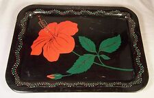 """Vintage Metal Tray Black with Hibiscus Floral Design 17.5"""" x 12.5"""""""