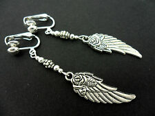 A PAIR OF  TIBETAN SILVER WING FEATHER FLOWER CLIP ON  EARRINGS. NEW.